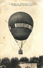 Hot air balloon advertising Absinthe Rivoire  1900.