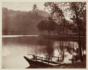 Lakeside landscape  Ceylon  c 1870.