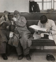 Jewish men reading scriptures  Jerusalem  1945.