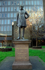 Robert Stephenson statue at Euston Station  London  31 March 2004.