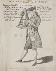 Naval officer using an octant  late 18th century.