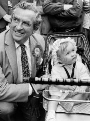 Dennis Healey campaigning in Wrexham  May 1983.
