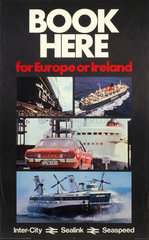 'Book Here for Europe or Ireland'  BR poster  c 1970s.