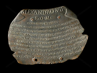 Bronze plaque to celebrate the extinction of the plague in Rome  1655-1667.