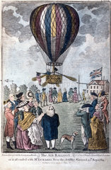 Mr Lunardi in Air Balloon  1784.