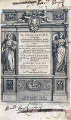 Title page of 'Il Saggiatore' (The Assayer)  by Galileo  1623.