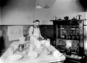 The kitchen of the enginemen's hostel at Stratford in East London  c 1911.