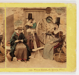 'Welsh Group  The Spinning Wheel'  c 1875 .