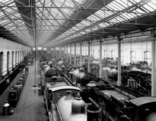 Locomotives in the paint shop at the Midlan