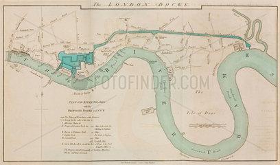 London Docks on the River Thames  1796.