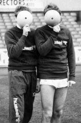 Chris Waddle and Glenn Hoddle  British footballers  1987.
