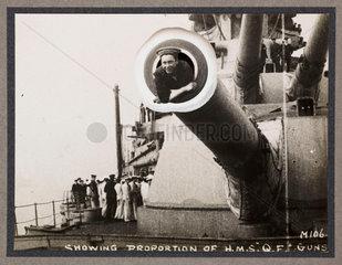 'Showing Proportion of HMS Queen Elizabeth's Guns'  c 1916.