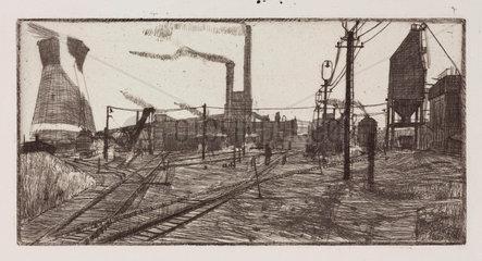 Industrial landscape including a power station  c 1930.