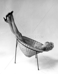 'Nude Reclining in Basket Chair'  3 May 1955.