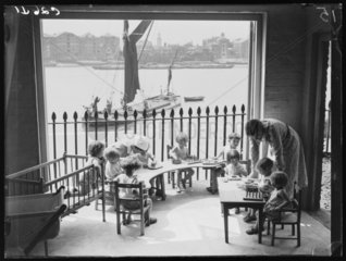 Children at the Port of London Day Nursery  Wapping  London  1933.
