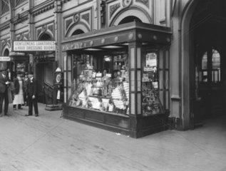 Chocolate kiosk at Paddington Station  London  1927.