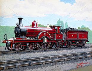 Midland Railway 4-2-2 locomotive No 4  c 1900.
