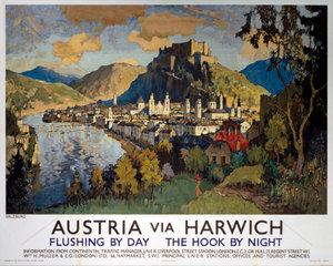 'Austria via Harwich' - Salzburg  LNER poster  1923-1947.
