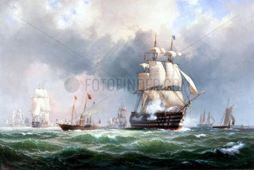 The Baltic fleet leaving Spithead  15th March 1854.