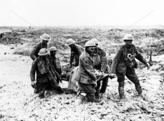 British stretcher-bearers carrying a wounde