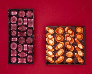 Two plastic Cadbury's chocolate trays  1985.