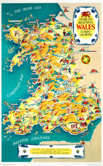 'Come to Beautiful Wales'  BR (LMR) poster  1948-1965.