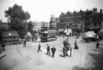 Road junction in Camberwell  South London  c 1900s.