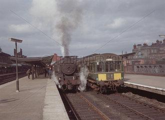 Steam locomotive and diesel locomotive  1967.