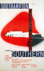 'Southampton Central Station'  SR poster  1936.