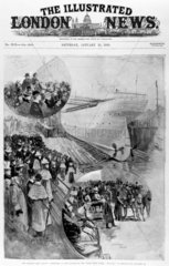 Launching of the SS 'Oceanic'  Belfast  January 1899.