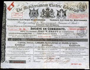 Mediterranean Electric Telegraph Company Share Certificate  1854.