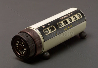 'Sterlicon 5' cylindrical calculator for sterling-decimal conversion  c 1970.