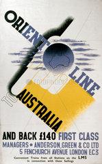 'Orient Line to Australia'  LMS poster  1923-1947.