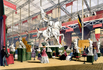 Belgian stand at the Great Exhibition  Crystal Palace  London  1851.