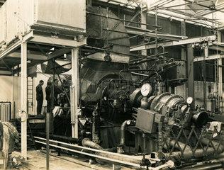 Metropolitan-Vickers G6 marine engine during testing  c late 1940s.