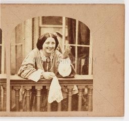Woman on balcony  c 1870.