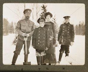 Tsar Nicholas II and and his family in the snow  Russia  1915.
