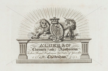Trade card of Alder & Co  chemists and apothecaries  19th century.