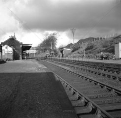 Abergavenny Junction Station  looking north  Monmouthshire  4 January 1950.