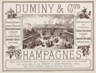 Trade advertisement for Duminy & Co Champagne  19th century.