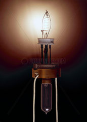 Nernst lamp (on)  c 1900.