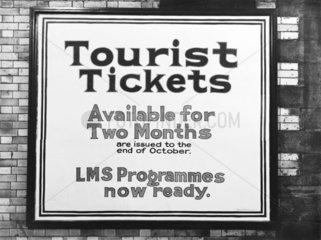 Tourist tickets poster  c 1926.