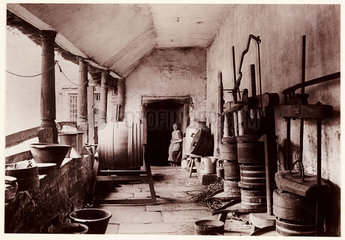 A cider press  c 1890.
