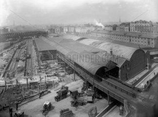 Demolition of the old goods depot at Paddington Station  London  July 1925.