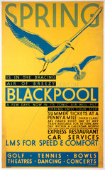'Spring is in the bracing air of breezy Blackpool'  LMS poster  c 1935.