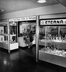The duty free shop at Manchester Airport  1965.