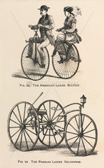 'The American Ladies Bicycle' and 'The Parisian Ladies Velocipede'  1869.