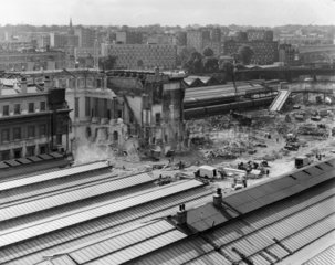 Demolition of the Great Hall  Euston Station  London  August 1963.