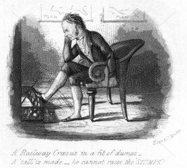 Headed notepaper satirising railway mania  1845.