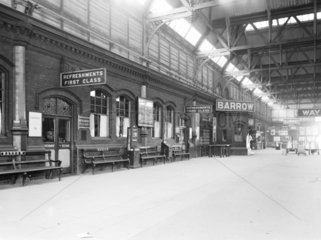 Refreshment rooms at Barrow Station  Cumbria  11 February 1930.